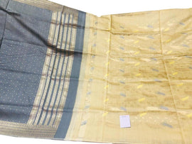 Grey and Yellow Handloom Banarasi Pure Dupion Silk 3 Piece Unstitched Suit Set - Luxurionworld
