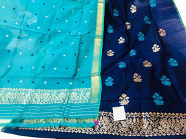 Blue Handloom Banarasi Pure Dupion Silk 3 Piece Unstitched Suit Set - Luxurionworld