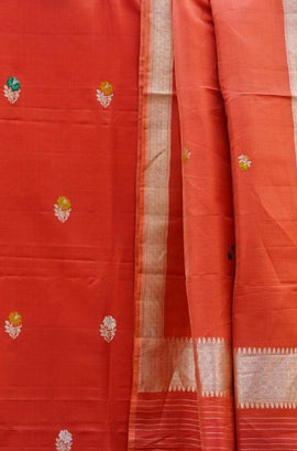 Red Handloom Banarasi Pure Katan Silk Unstitched Suit Set