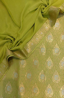 Green  Handloom Banarasi Silk Three Piece Unstitched Suit Set