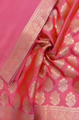 Pink  Handloom Banarasi Silk Three Piece Unstitched Suit Set