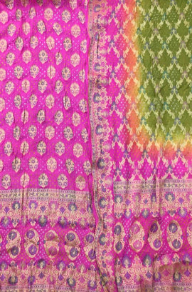 Pink Banarasi Bandhani Pure Georgette Meenakari Unstitched Suit Set - Luxurionworld