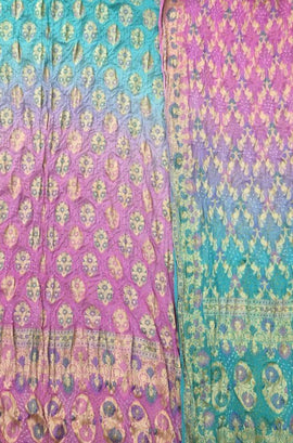 Blue and Pink Banarasi Bandhani Pure Georgette Meenakari Unstitched Suit Set
