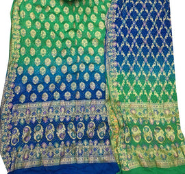 Green and Blue Banarasi Bandhani Pure Georgette Meenakari Unstitched Suit Set