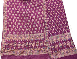 Purple Banarasi Bandhani Pure Georgette Meenakari Unstitched Suit Set - Luxurionworld
