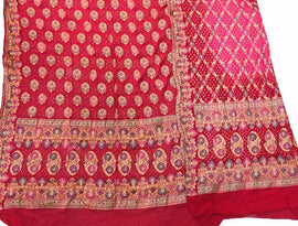 Red Banarasi Bandhani Pure Georgette Meenakari Unstitched Suit Set