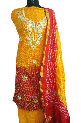 Yellow And Red Bandhani Silk Unstitched Suit Set With Gota Patti Work