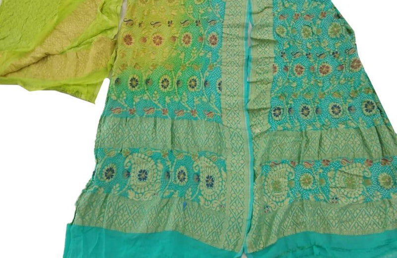Blue and Green Banarasi Bandhani Pure Georgette Meenakari 3 Piece Unstitched Suit Set