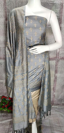Grey Bhagalpur Foil Print Silk Cotton Unstitched Suit Set - Luxurionworld