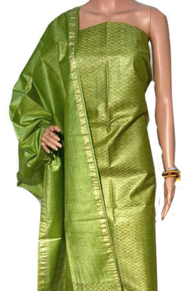 Green Handloom Bhagalpur Pure Linen Silk 3 Piece Unstitched Suit Set - Luxurionworld