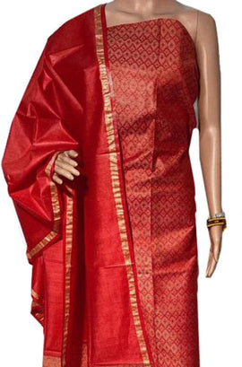Red Handloom Bhagalpur Pure Linen Silk 3 Piece Unstitched Suit Set - Luxurionworld
