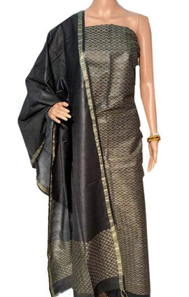 Grey and Black Handloom Bhagalpur Pure Linen Silk 3 Piece Unstitched Suit Set - Luxurionworld