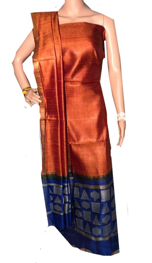 Orange Handloom Bhagalpur Pure Dupion Raw Silk Unstitched Two Piece Suit - Luxurionworld