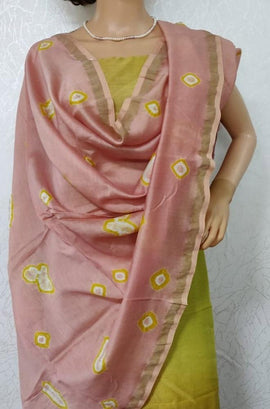 Yellow and Pink Handloom Chanderi Silk Suit Set
