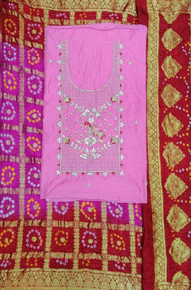 Pink  And Red Gota Patti Chanderi Silk Unstitched Suit Set
