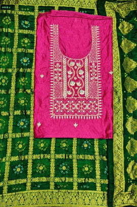 Pink And Green Gota Patti Chanderi Silk Unstitched Suit Set
