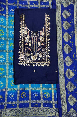 Blue Gota Patti Chanderi Silk Unstitched Suit Set