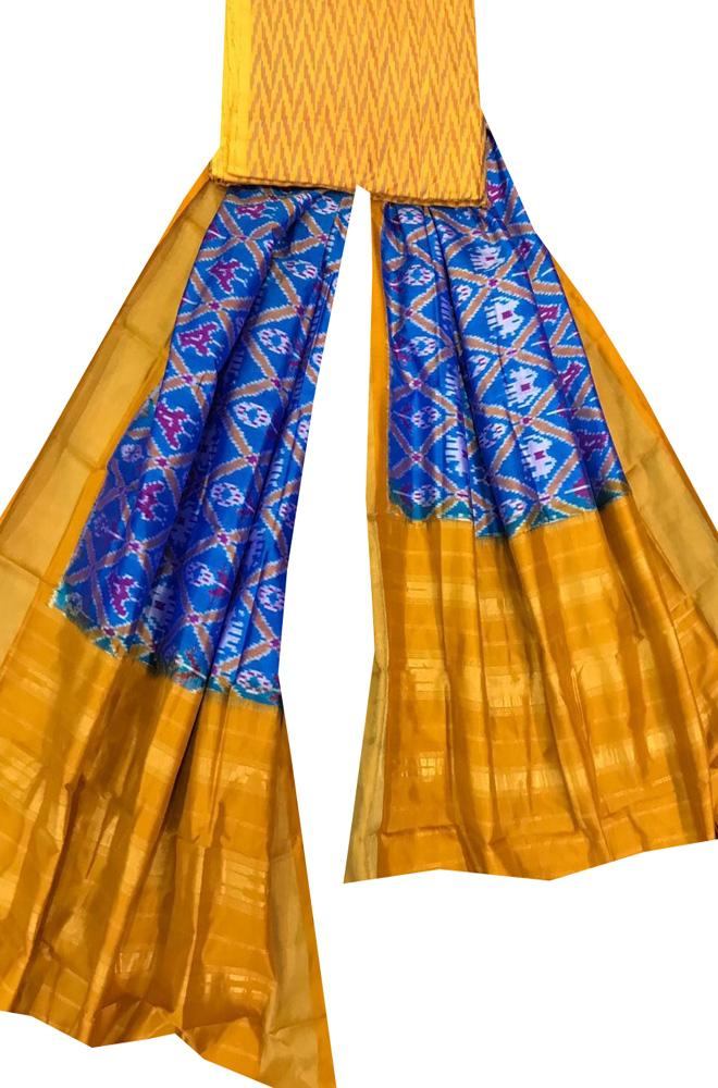 Yellow and Blue Handloom Ikat Pure Silk Unstitched Suit Set