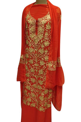 Red Kashmiri Aari Work Semi Georgette Unstitched Suit Set - Luxurionworld