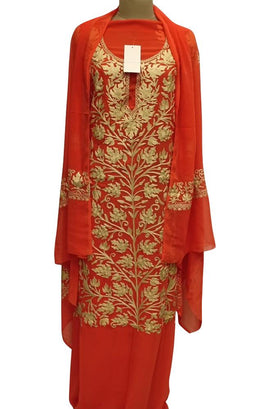Red Embroidered Kashmiri Aari Work Georgette Unstitched 3 Piece Suit Set - Luxurionworld