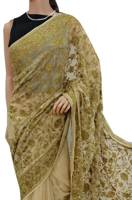 Cream Embroidered Kashmiri Aari Work Georgette Saree