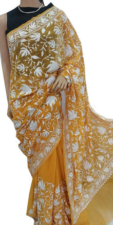 Yellow Embroidered Kashmiri Aari Work Georgette Saree