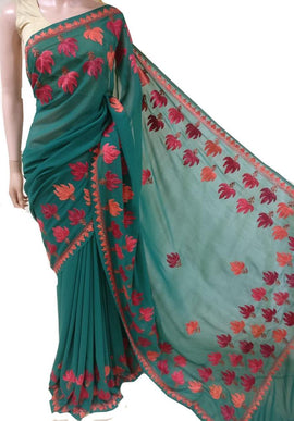 Green Embroidered Kashmiri Aari Work Georgette Saree
