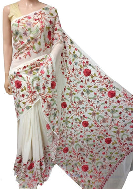 Copy of Off White Embroidered Kashmiri Aari Work Georgette Saree