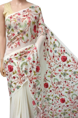 Off White Embroidered Kashmiri Aari Work Georgette Saree