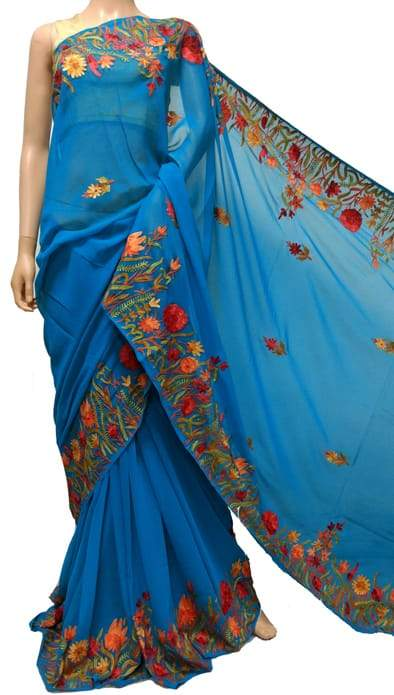 Blue Embroidered Kashmiri Aari Work Georgette Saree