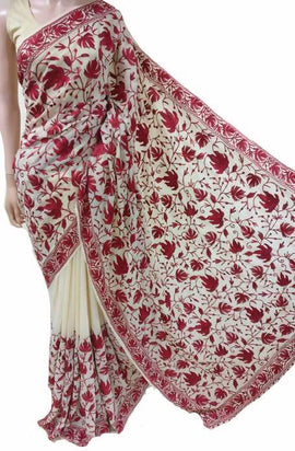 Pastel Embroidered Kashmiri Aari Work Georgette Saree