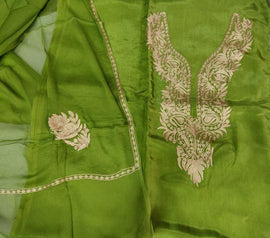 Green  Kashmiri Tila Work Silk Unstitched Suit Set - Luxurionworld