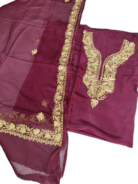 Purple Shot Kashmiri Tila Work Silk Unstitched Suit Set - Luxurionworld