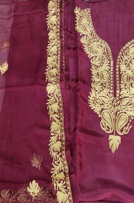 Purple Shot Kashmiri Tila Work Silk Unstitched Suit Set
