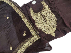 Brown Shot Kashmiri Tila Work Silk Unstitched Suit Set - Luxurionworld