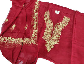 Red  Kashmiri Tila Work Silk Unstitched Suit Set - Luxurionworld