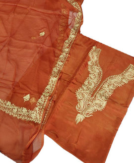 Orange  Kashmiri Tila Work Silk Unstitched Suit Set - Luxurionworld