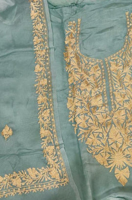 Blue  Kashmiri Tila Work Silk Unstitched Suit Set