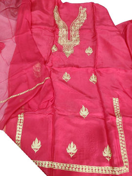 Pink  Kashmiri Tila Work Silk Unstitched Suit Set - Luxurionworld