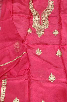 Pink  Kashmiri Tila Work Silk Unstitched Suit Set
