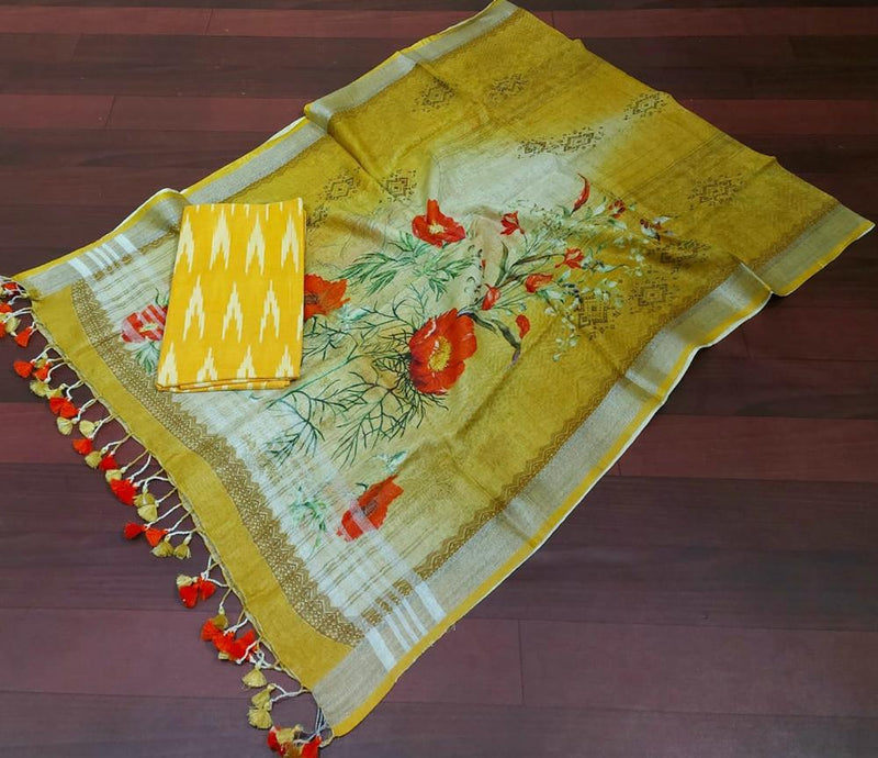 Green and Yellow Pure Linen Digital Printed Dupatta With Ikat Cotton Suit Fabric
