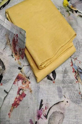 Yellow Plain Linen Top With Off White Digital Printed Linen Dupatta - Luxurionworld