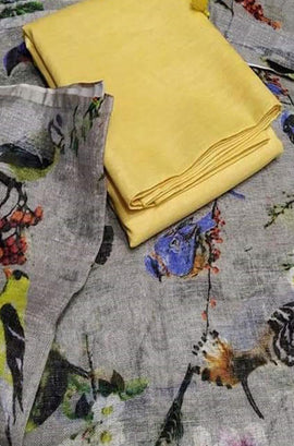Yellow Plain Linen Top With Grey Digital Printed Linen Dupatta - Luxurionworld