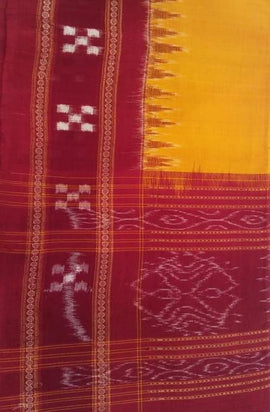 Yellow Handloom Sambalpuri Cotton Dupatta - Luxurionworld