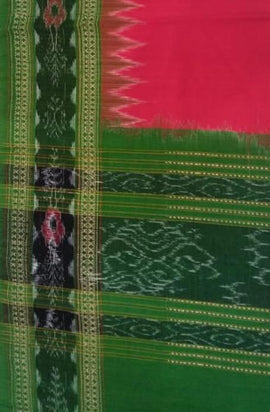 Pink Handloom Sambalpuri Cotton Dupatta - Luxurionworld