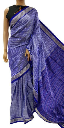 Blue Handloom Sambalpuri Single Ikat Pure Silk Saree - Luxurionworld
