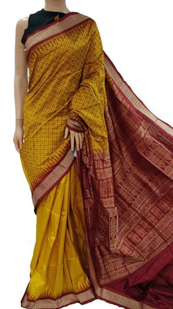 Yellow Handloom Single Ikat Bomkai Sambalpuri Pure Silk Saree
