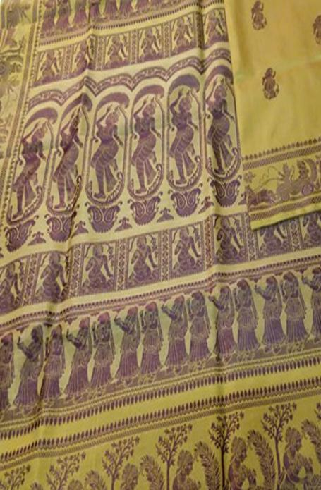 Yellow Handloom Baluchari Pure Silk Saree