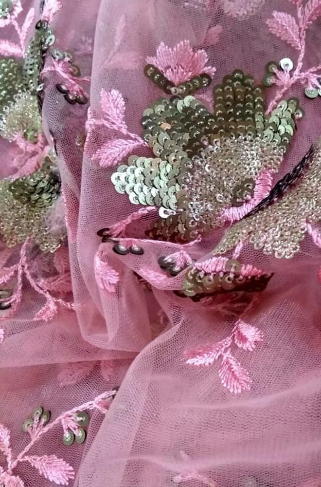 Pink Sequence Work Net Fabric (2.5 mtrs)