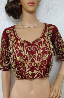 Zardozi Handwork Velvet Blouse - Luxurionworld